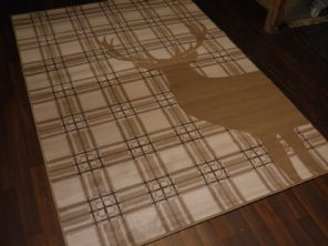 Large Approx 8x5ft 160cmx230cm Woven Backed Top Quality stags Checked Beige
